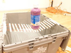 Engineering mystery bag challenge idea - Bridge built of popsicle sticks and string