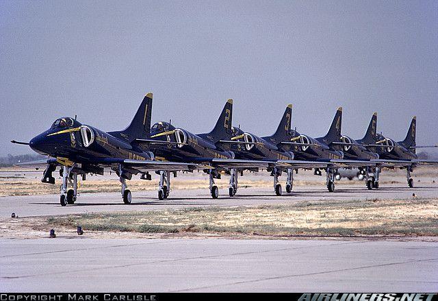 Blue Angels Demonstration team A-4 Skyhawks in line.