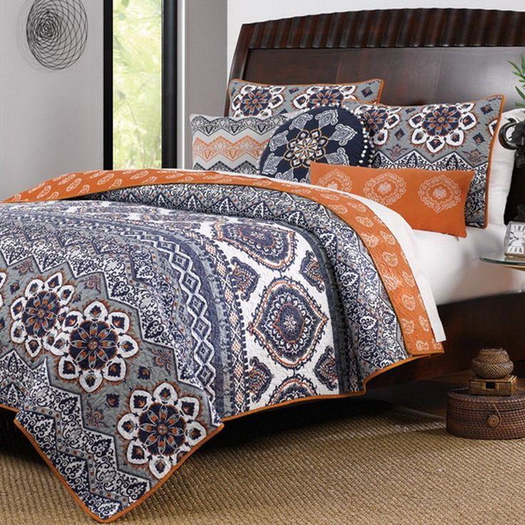 Boho Chic Moroccan Paisley Pattern Grey Orange Cotton 3 Piece King Size Quilt Bedding Set