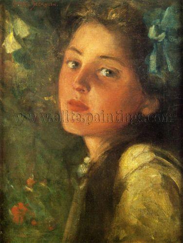 Beckwith-James-Carroll-A-Wistful-Look-artiste-tableau-huile-sur-toile-peinture