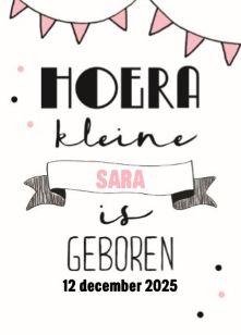 Hoera, kleine Sara is geboren! #Hallmark #HallmarkNL #geboorte #geboortekaart #meisje