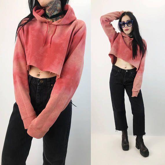 Tie Dye Cropped Hoodie Sweatshirt Medium Peach Pink