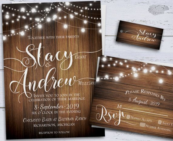 Rustic Wedding Invitation, Country DIY Printable Wedding Invitations, Spring Wedding, String Lights Wedding Invites, Backyard Wedding