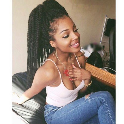 Image via We Heart It #blackbeauty #blackgirl #rednails #blackgirl #nigerian #boxbraids