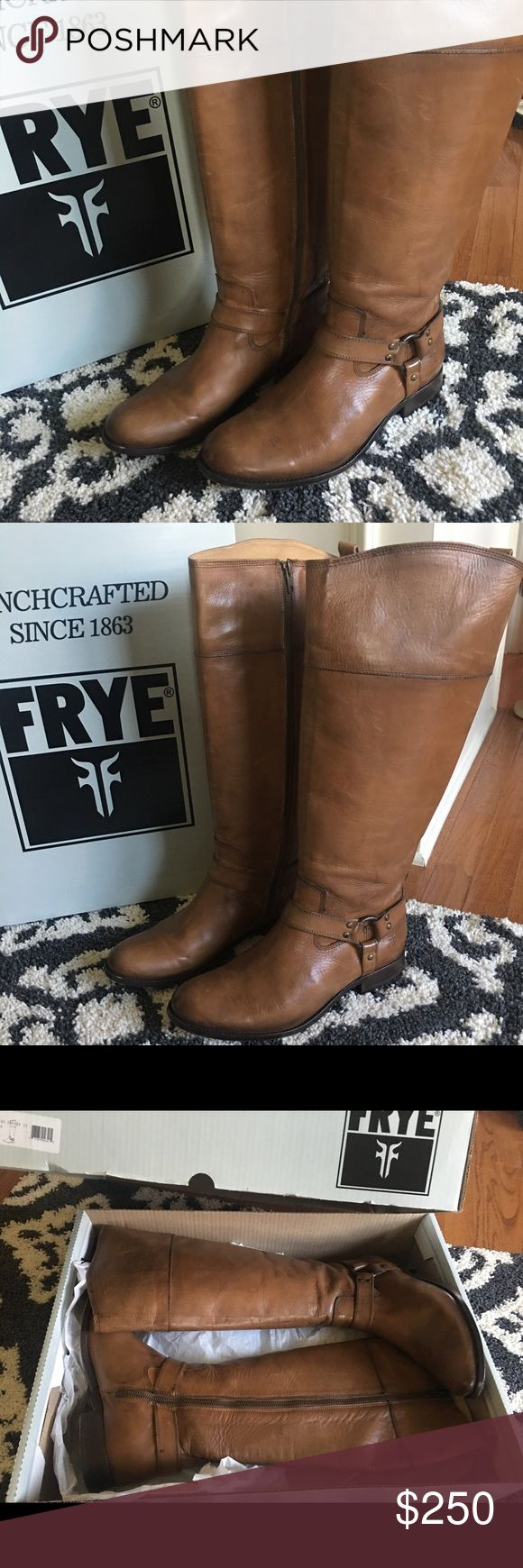 Frye Melissa Harness Riding Boot/ Camel color Only worn one time for 15 min. These are beautiful Like New Frye boots! Perfect condition. Extended calf. I would keep them but they are too big. Frye boots will last a lifetime! Frye Shoes Heeled Boots
