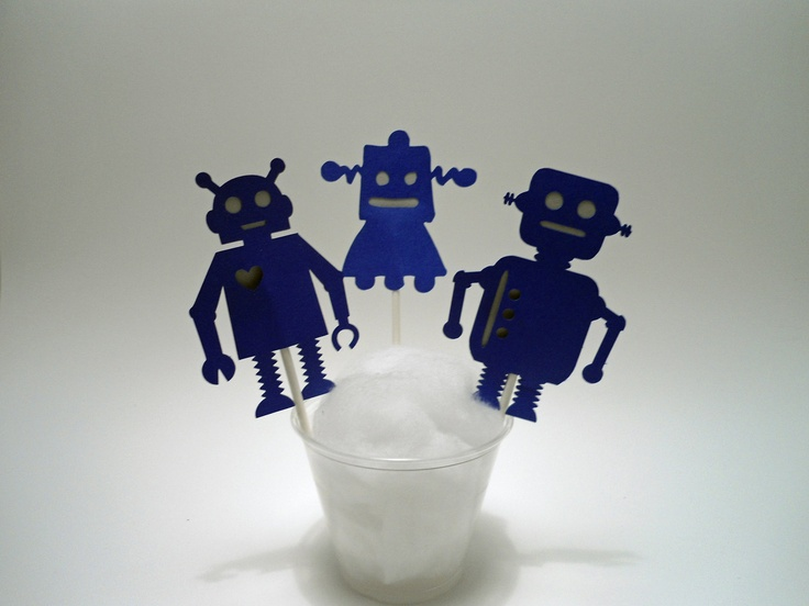 Super Cute Robot Cupcake Toppers.