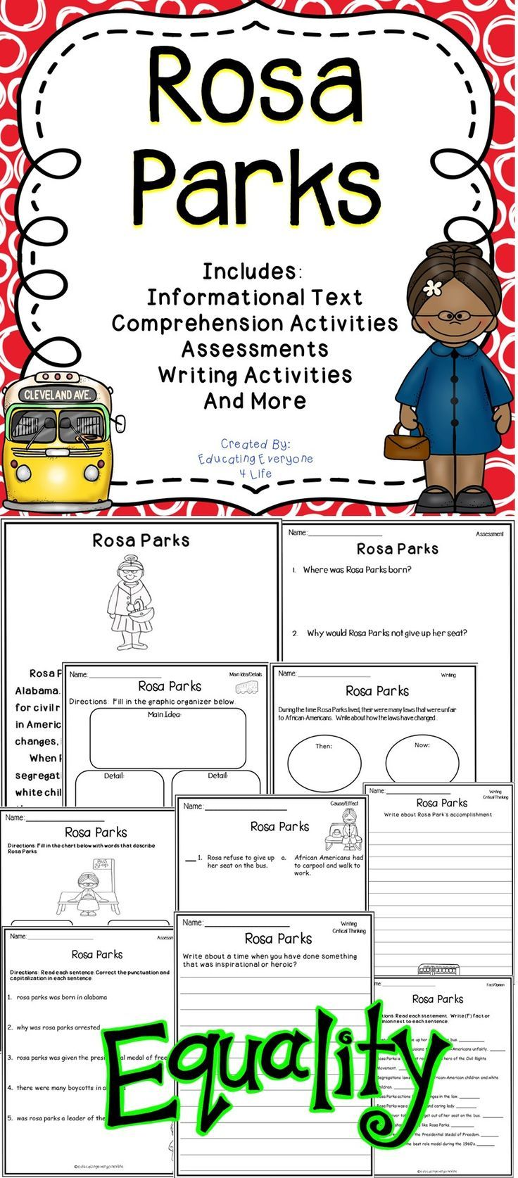 Celebrate The Life Of Rosa Parks In The Classroom With These Fun And Engaging Lessons This Reso Rosa Parks Writing Activities Reading Comprehension Activities