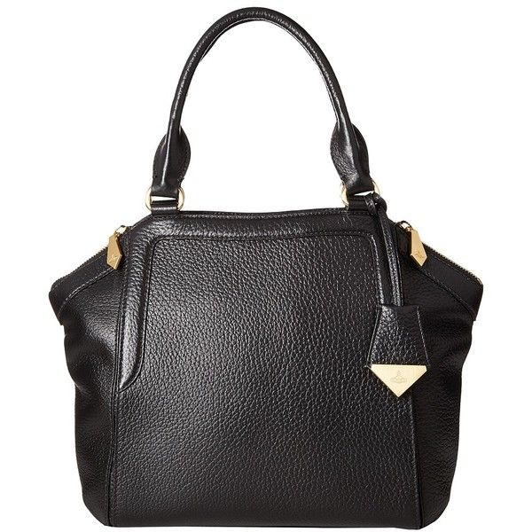 Vivienne Westwood Kensington Bag (Black) Handbags ($876) ❤ liked on Polyvore featuring bags, handbags, genuine leather handbags, real leather purses, vivienne westwood purse, real leather handbags and leather handbags
