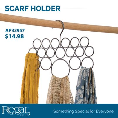 "SCARF HOLDER Display and store your scarves, ties and other clothing accessories! Holds up to 18 of your favourite scarves and easily hangs on any closet rod. Durable chromed steel construction. 11""W x 9""L"