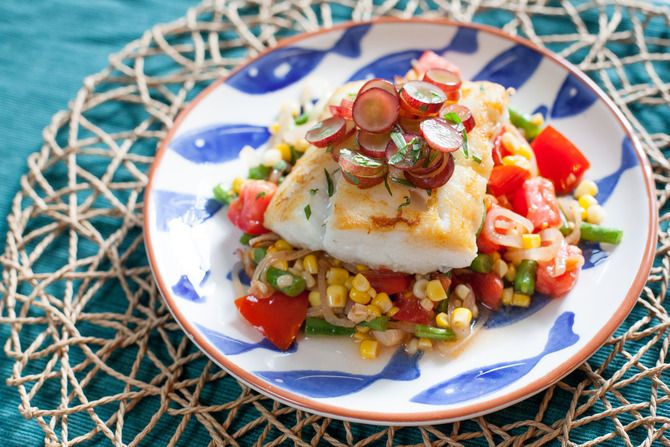 Cod with Pickled Grapes amp Summer Succotash Visit blueapron