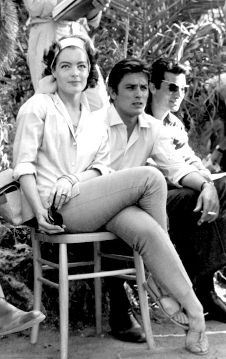 Romy Schneider & Alain Delon on the set of The Leopard, 1963