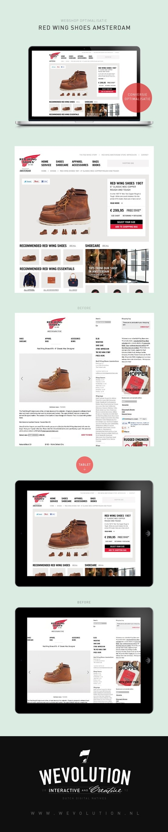 Red Wing Amsterdam product page redesign proposal | Wevolution #ecommerce #webshop #ux