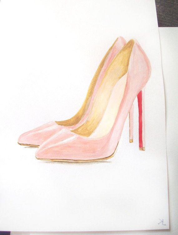 Christian Louboutin Pigalle Nude, original watercolor illustration, NOT PRINT, fashion illustration, wall decor