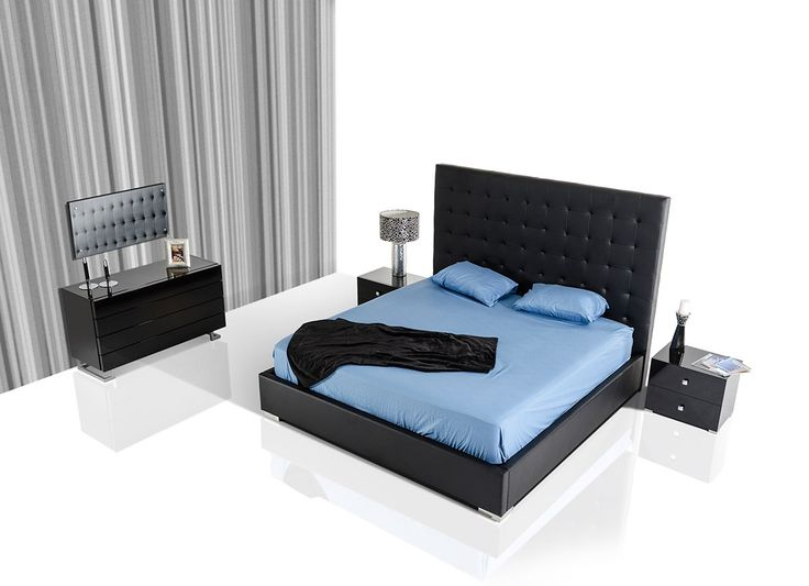 The Lyrica Black Eco-Leather Tall Headboard Bed with Storage is simple, sleek and functional.