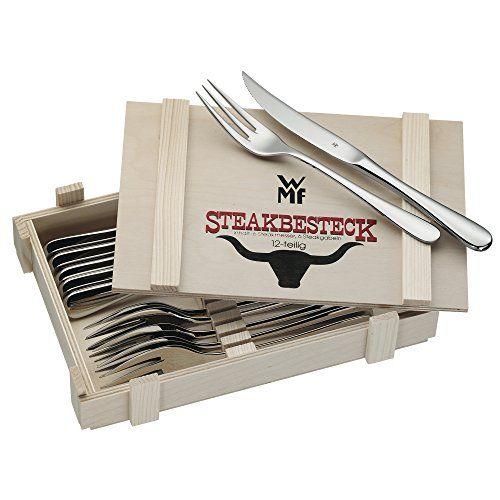 WMF Steakbesteck 12-teilig für 6 Personen in Holzkiste Cromargan Edelstahl rostfrei18/10 poliert - http://besteckkaufen.com/wmf/wmf-1280239990-steakbesteck-12-teilig-in