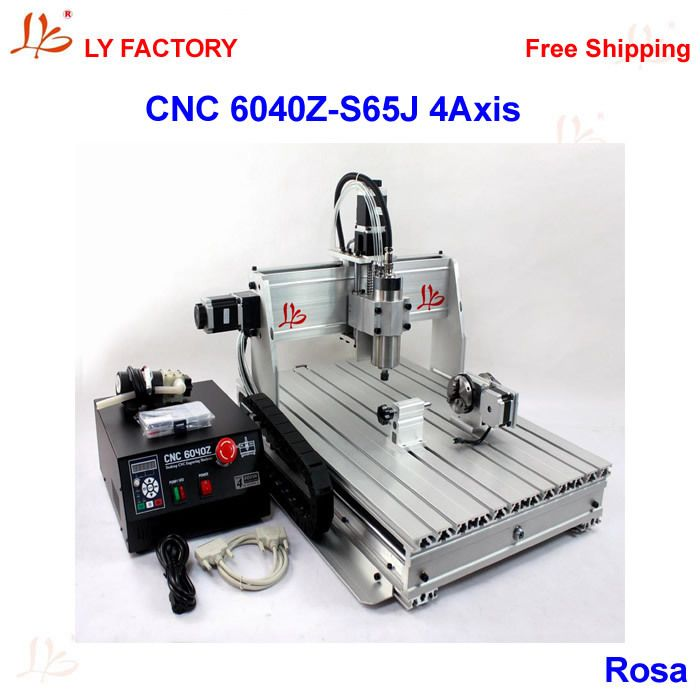 LY Factory 6040Z-S65J 4 Axis CNC Router Engraver with 800W Water-Cooling Spindle Motor