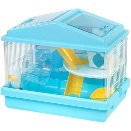 Iris 2-Tier Hamster Cage, Red, Blue
