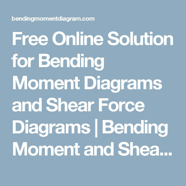Free Online Solution for Bending Moment Diagrams and Shear Force Diagrams | Bending Moment and Shear Force Diagram Calculator