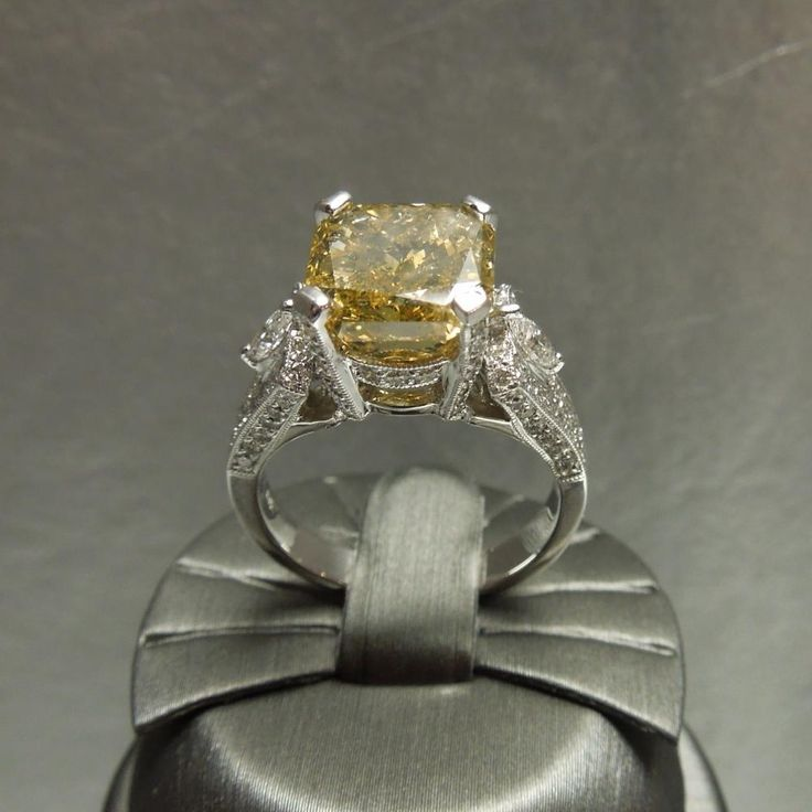 Vintage Canary Yellow Diamond Engagement Rings | Diamonds are the preferable way of expressing dedication and love because t