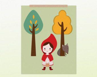 Cappuccetto Rosso PDF stampabile DIY - Poster Stampabile in formato A4 per la cameretta dei bambini
