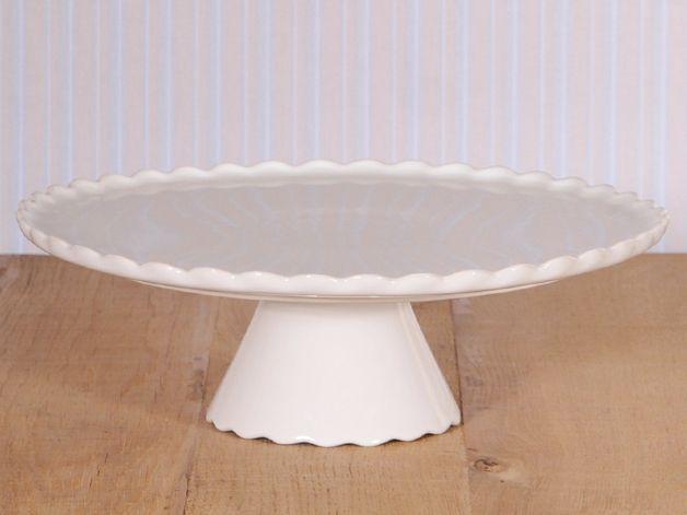 Tortenplatte mit Fuß in Weiß, Ø 34 cm von Home of Cake auf DaWanda.com