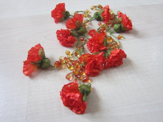 Strand NecklaceRibbon Clove Flower NecklaceBeaded by scarfnurlu