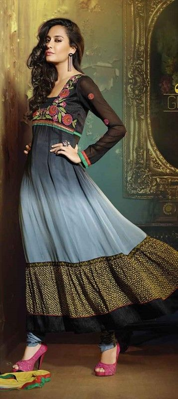 412291, Bollywood Salwar Kameez, Faux Georgette, Thread, Lace, Machine Embroidery, Resham, Black and Grey Color Family