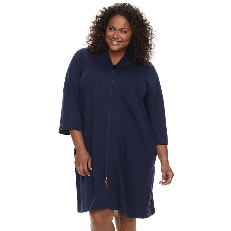 Plus Size Croft & Barrow® Quilted Zip-Up Duster Robe, Women's, Size: 2XL, Blue