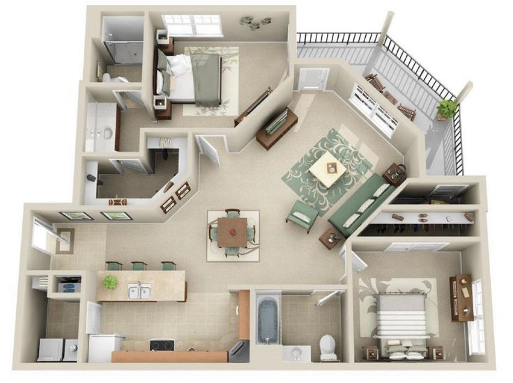 Our Hawthorne (B1) floor plan hosts 1169 sq ft.  It has 2 bedrooms and 2 bathrooms.
