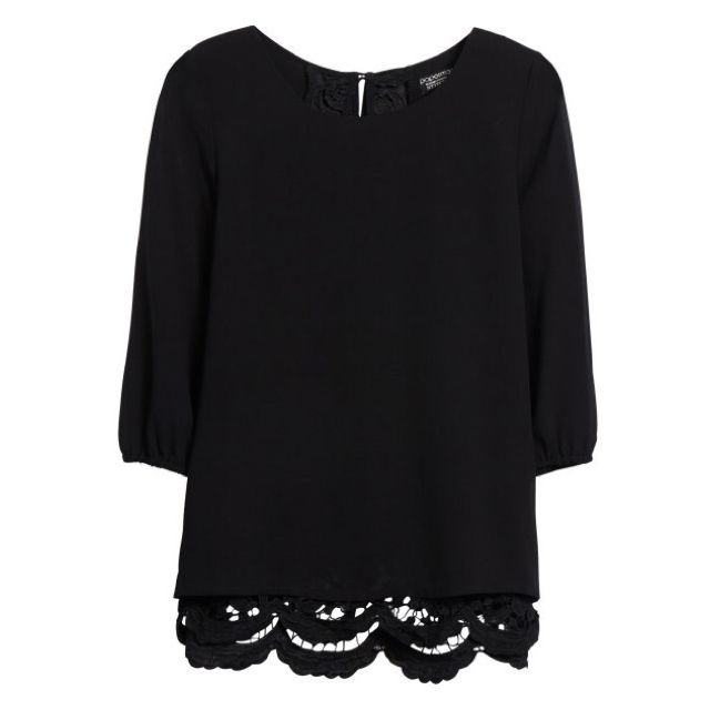 Diana - Love me some black! Papermoon Nilly Crochet Trim Open Back Blouse