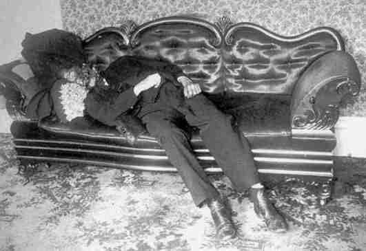 Andrew Borden Murder Scene  Crime scene photo of Andrew Borden's corpse in the sitting room.