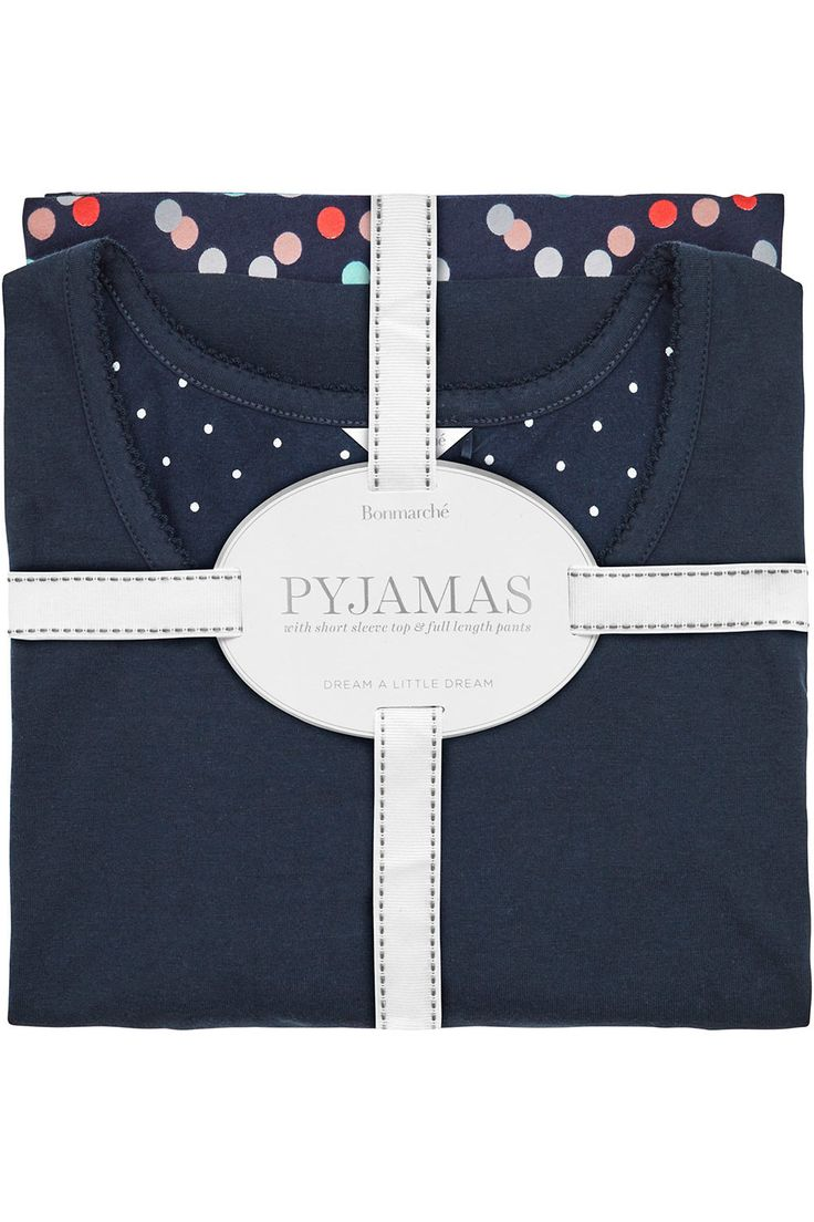 Spot Print Gift Wrapped Pyjama Set - This gift wrapped pyjama set includes a plain navy short sleeve top with a multi-coloured spot print long length pant. The perfect gift for the upcoming season of Mother's Day present
