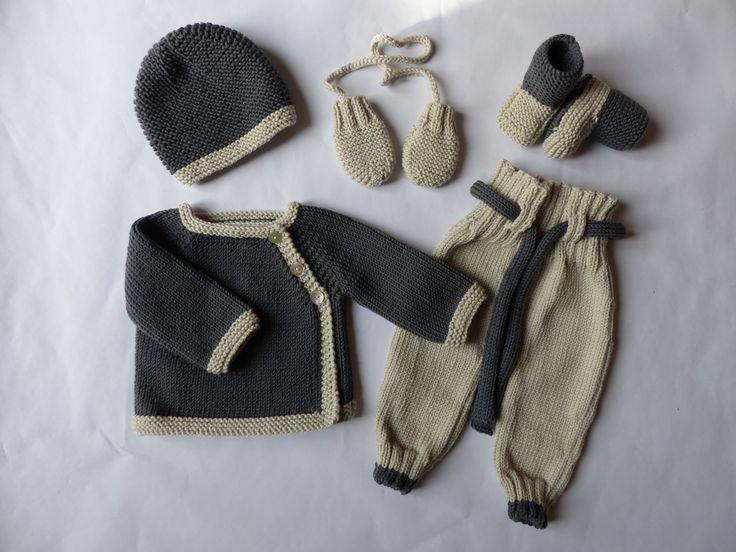 Trousseau naissance/bébé garçon, brassière, pantalon, bonnet et chaussons, tricoté en pure laine mérinos, extra douce : Mode Bébé par bbgreen