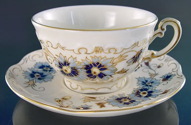 """Zsolnay china cup. """"corn flower"""""""