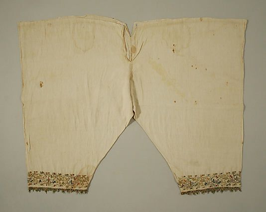 16th Century Italian linen Trousers with silkk and metal thread embroidery.  Accession Number 10.124.3 MET