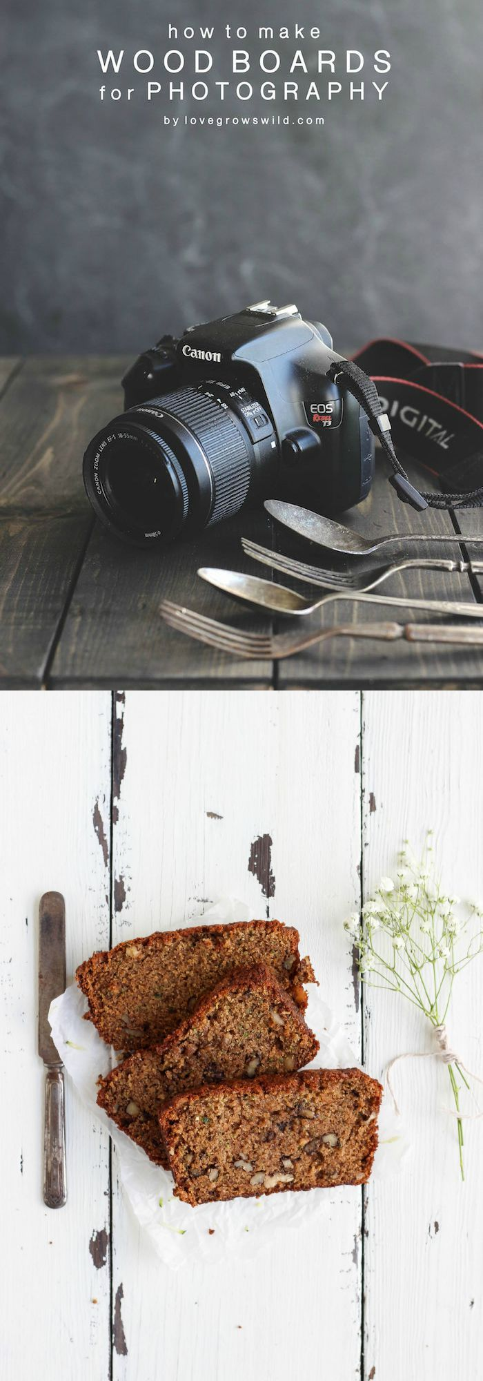 Learn how to make your own beautiful backdrops for photography with this easy tutorial! Perfect for photographing food, newborns, products, and more!   LoveGrowsWild.com