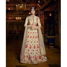 Beige Color Net Hand Craft Bridal Lehenga With Semi-stitched Designer Jacket Choli From Lagna Shringar Buy World Of Style      ₹ Rs.14,644