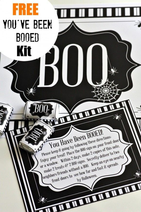 """Use our """"You've Been BOOed Free Printable Kit"""" to """"BOO"""" your neighbors this year! What Halloween fun!"""