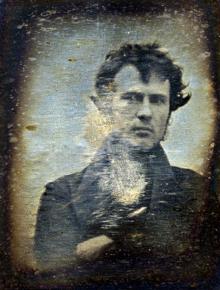 1839 self-portrait of Robert Cornelius, one of the first photographs of a human to be produced (if not the first).