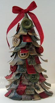 ~` paper buttons ribbons on a styrofoam cone `~: Christmas Cards, Crafts Ideas, Christmas Crafts, Christmas Decor, Christmas Ideas, Paper Crafts, Christmas Trees, Add Ink, Buttons Christmas