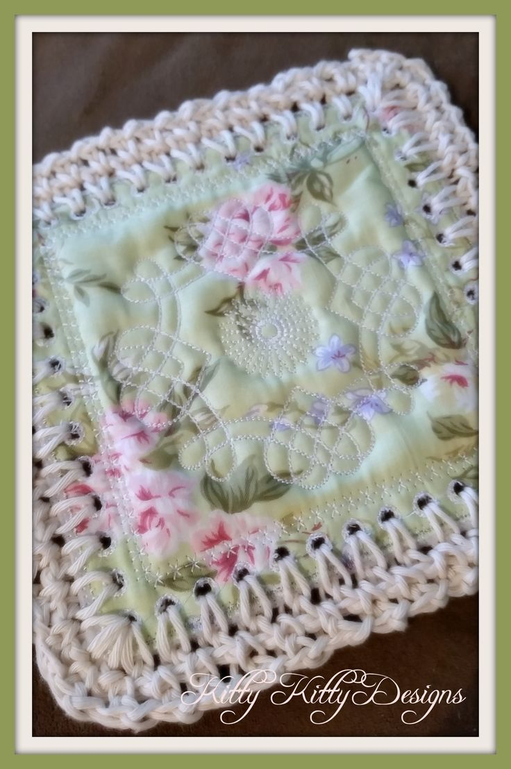 "Beautiful fabric and crochet blend to create a stunning quilt that will make your heart smile. Be careful! This ""Fusion Quilt"" and its construction are addicting! Use up your scraps and make what was                                                                                                                                                       More"