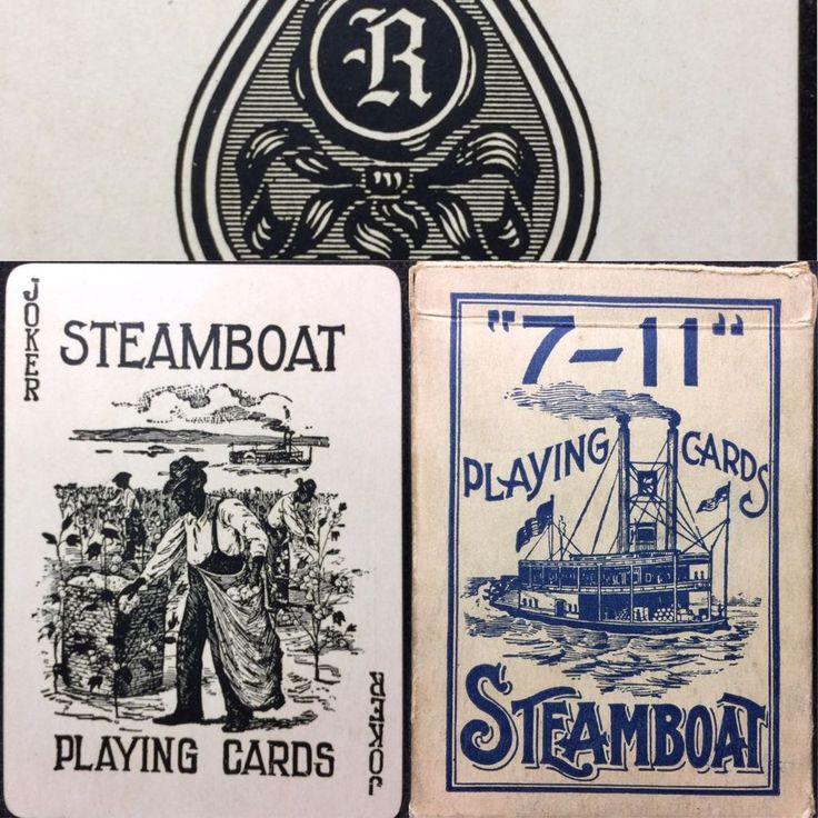 7-11 Antique Steamboat Stereotype Joker Historic American Poker Playing Cards #RPCC