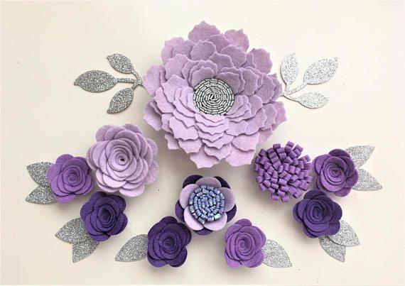 Color lila/morado a mano fieltro Flores y brillo 3d hojas. Corona de flores, diadema de flores, guirnalda de la flor, venda del bebé de fieltro, ramilletes