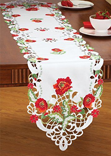 Floral Poppy Cut Out Table Linens, Runner Collections Etc