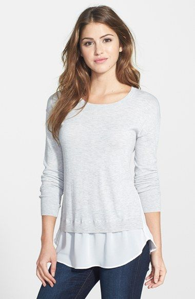 Halogen® Woven Hem Layered Look Sweater (Regular & Petite)   Nordstrom
