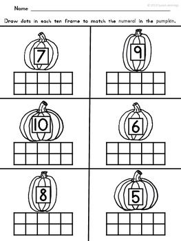 {FREE!} APPLES AND PUMPKINS TEN FRAME MATH -