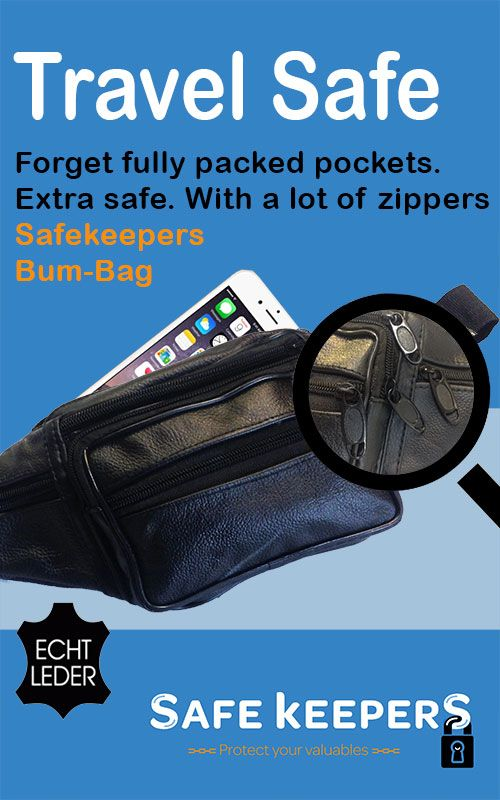 Safekeepers Bum Bag . Never fully packed pockets. Made from leather and with extra zippers.