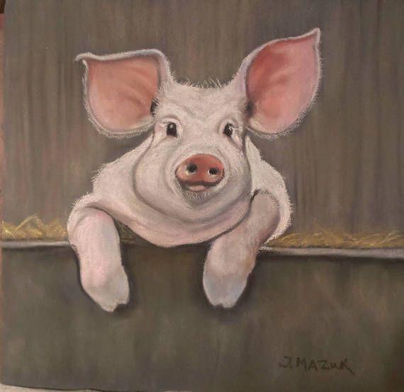 Mr Pig Original Soft pastel Drawing Artwork Gift by JaneMStudio