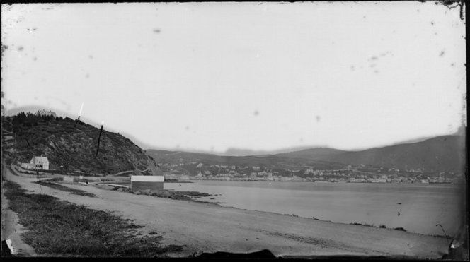 Oriental bay, Wellington, showing a boatshed and houses, looking across harbour to city and Thorndon : between 1866 and 1880s