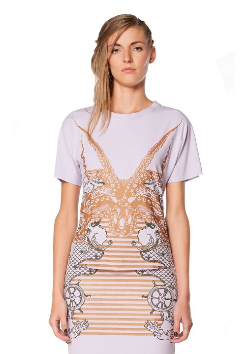 """https://www.cityblis.com/5236/item/6566  Printed """"Sea lover"""" top, at 40.00% off by Freak Factory  Kimono style top with """"Sea Lover"""" silk-screen print made of solid viscose jersey. Worn together with a printed """"Sea Lover"""" tube skirt, this top visually forms an optical illusion of one piece garment ant can perfectly work as a cocktail dress.   Material: 95% viscose, 5% elastane"""